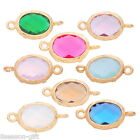 1PC Gold Plated Oval Connector Findings Inlay Resin Rhinestone 18mm x9mm