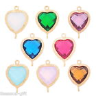 1PC Gold Plated Heart Shape Connector Jewelry Making Findings Resin Rhinestone