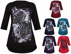 Womens New Plus Size Rose Flower Ladies Glitter Half Sleeve Fishtail T-Shirt Top