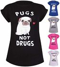 Womens Plus Size Pug Heart Print Ladies Stretch Turn Up Sleeve Tunic T-Shirt Top