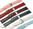 12~24mm Real Leather Cowhide Deployment Stainless Steel Clasp Buckle Watch Strap