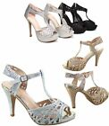 Women's Sexy Glitter Open Toe Strappy High Heel Platform Pump All Size 5 -10 NEW