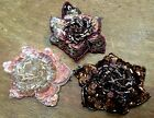 "APPLIQUE FLOWER 3-D Beads  Sequins 3"" Hand Sewn 1pc Jewelry Millinery Hair"