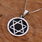 925 Sterling Silver Handcraft Star Of David Round Pendant Chain Necklace w Box