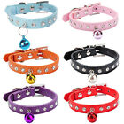 New Pet Dog Cat Diamante PU Leather Collar with safety buckle and bell