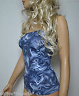 BLUE GREY STRETCH LYCRA BOOB TUBE TOP STRAPLESS BANDEAU CLUB PARTY HOLIDAY W652
