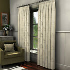 "LUXURY FULLY LINED VOILE PAIR OF READY MADE CURTAINS 3"" TAPE CREAM NATURAL LEAF"