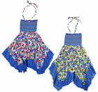Girl's Patchwork Denim Look Trim Hanky Hem Cotton Summer Dress 3-12 Years NEW