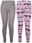 Womens Plus Size Gingham Aztec Printed Ladies Stretch Long Full Leggings Pants