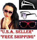 Vintage Oversized Classic Red White Roses Floral Sunglasses *4th Fourth of July*