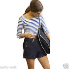 Blue And White Stripe Navy Style Long Sleeve Square Neck Womens Tee Shirt Top