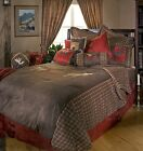 Moose Canoe Plaid Rustic Cabin Bedding Set Comforter Red Brown Lodge New