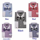 Men's Checked Dress Shirt French Cuff With Bowtie  Flower-Hanky FL-628
