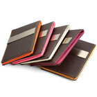 Square Pattern Faux Leather Money Clip Wallet Card Holder-Choco-Laser Engraving-
