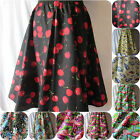 A LINE SKIRT CHERRY FLAMINGO RETRO BIKER 50'S VINTAGE LOOK CUSTOM MADE SIZE 8 22