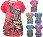 Womens Plus Size Butterfly Print Ladies Sleeveless Sequin Tunic T-Shirt Long Top