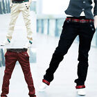 Mens Cargo Long Pants Slim Fit Plaid Cuffed gracious Straight Trousers Jeans
