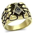 ANTIQUE LOOK GOLD PLATED 316 STAINLESS STEEL NUGGET STYLE MASONIC FREEMASON RING