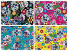 "100% Cotton Poplin Dress Fabric Material - Floral Skull Print -44"" (112cm) wide"