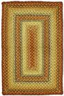 Jute Braided Area Floor Rug Rectangle Red Green Gold Cottage Cabin Rustic