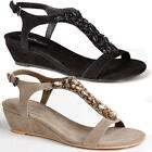 WOMENS LADIES SUMMER SANDALS STRAPPY FAUX SUEDE LOW HEEL FLAT WEDGES SHOES SIZE