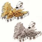 Fashion Rhinestone Butterfly Pendant Womens Stainless Steel Long Necklace 18""