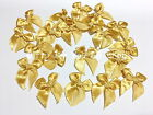 Mini Gold & Offwhite Satin Ribbon Bows Upick DIY Gift Wedding Appliques 40 pcs