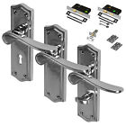 Polished Chrome Door Handle Set Mortice Lever Latch Lock Bathroom Pack