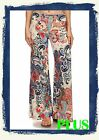 PLUS SIZE FOLD OVER WAIST WIDE LEG PAISLEY CREAM BLUE RED PALAZZO PANTS 1X 2X 3X