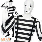 Mime Second Skin Mens BodySuit Halloween Circus Adults Fancy Dress Costume New