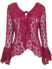 PLUS LADIES PLUM RED FLORAL LACE BELL SLEEVE COVER UP CARDIGAN TOP*26*28*30*32