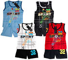 Boys Sport Football 32 Vest Top & Shorts Outfit Set 3 to 10 Years NEW
