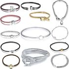 Hot 925 Sterling Silver Snake Chain Bracelets Bangle Fit European Beads Charm