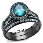GRAY TONE STAINLESS STEEL HALO SEA BLUE OVAL CUT CZ ENGAGEMENT WEDDING SET 5-10