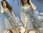 Fashion Princess Cute Kawaii Lolita Slim Sleeveless Gray Lace dress Onepiece