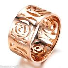 1PC Stainless Steel Women Ring Rose Gold Hollow Out Flower Engagement