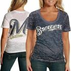Milwaukee Brewers Two-Tone Superfan Ladies Sublimated Sheer Burnout Premium T-sh