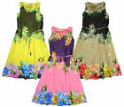 Girl's Floral Leaf Tie Waist Chiffon Layer Sleeveless Summer Dress 3 to 14 Years