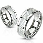 Stainless Steel White Carbon Fiber Inlay Band Comfort Fit Ring Fashion Jewelry