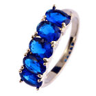 Blue Sapphire White Topaz Gemstone AAA Nice Silver Ring Size 6 7 8 9 10 11 12 13