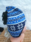 MUDDY PUDDLES FLEECE LINED FAIR ISLE KNITTED PERUVIAN HAT RED BLUE  black 10 14