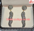 Chilly 4.30ct ROSE CUT DIAMOND VICTORIAN LOOK WEDDING .925 SILVER DANGLE/EARRING