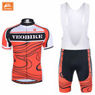 VEOBIKE Summer Cycling Team Short Sleeve Men's Cycling Jersey + BIB Shorts RD