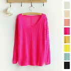 NEW BRABD Women Candy Color Sweater V-neck Knitting Sleeve Hollow Top Smock USJB