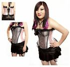 Gothic Satin And Lace Pink And black Boned Corset Basque Top Sizes M L X/L