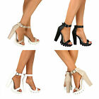 Ladies High Block Heel Buckle Cuff Strappy Sandals Cleated Sole Chunky Platform