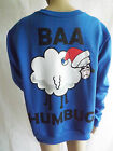 Men's Designed By TWISTED GORILLA Blue Baa Humbug Festive XMas Sweatshirt