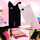 3D Cute Lovely Fox Plush Fluffy Tail Cat Case Cover For iPhone Samsung Galaxy