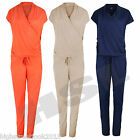 New Latest Womens Ladies Sleeveless V-Neck Viscose Jumpsuit Playsuit S-M-L-XL