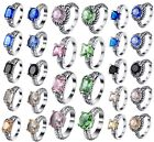 Authentic Fashion Luxury Sapphire 925 Silver Wedding Engagement Rings Size 6-9